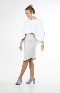 Daniella Cape White Life is better with true friends , feminine, geometrical shapes, feminine, diversity, playful, positive, girl power, , international, street style, playful, girl power, editorial, photo series, international, rixo, fashion show, Scandinavian, colourful, design, norsk mote, print, print on print sustainable, celebrity, label, smile, travelling, fashion designer brand White Cape, High Waisted Pencil Skirt, Photo Series, Gray Skirt, Fashion Labels, Fashion Show, Fashion Design, High Collar, Girl Power