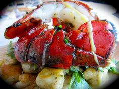 Award-winning recipe from Chef Kelly Patrick Farrin for Herb Grilled Maine Lobster Tail on Arugula with Chive ricotta Gnocchi & Corn Milk
