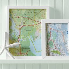 """Map Artwork and more on MarthaStewart.com / sew to the places we've traveled and """"X"""" where we lived"""