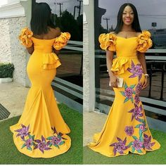 Aso Ebi Styles That Are Trending Right Now - Sisi Couture African Party Dresses, African Wedding Dress, African Dresses For Women, African Print Dresses, African Attire, African Wear, African Women, 50s Dresses, African Prints