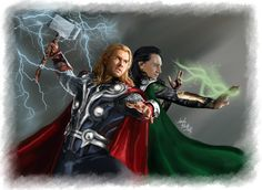 Thor Loki-Thunders and Spells by LadyMintLeaf Fan Art / Digital Art / Painting  Airbrushing / Movies  TV©2014 LadyMintLeaf