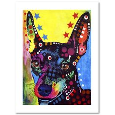 This print on high quality archival paper features a colorful painting of a dog. Art and animals. These two passions define Dean, a Brooklyn, New York-based artist who uses vibrant Pop Art colors and                                                                                                                                                                                  More