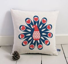 Items similar to Hand Screen Printed Peacock Cushion Cover in French Navy & Coral Red on Etsy