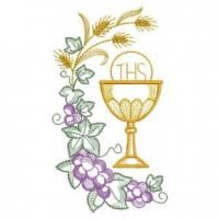 Celebrate the Eucharist with this set of inspirational designs depicting a chalice framed by golden wheat and violet grapes. Machine Embroidery Applique, Hand Embroidery Designs, Custom Embroidery, Embroidery Stitches, Embroidery Patterns, Embroidery For Beginners, Embroidery Techniques, Première Communion, Church Banners