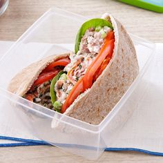 Garden Tuna Pita Sandwiches Recipe -A well-balanced meal packed into a pita is a breeze to whip up. Not a fan of tuna? Try canned chicken. —Rebecca Clark, Warrior, Alabama