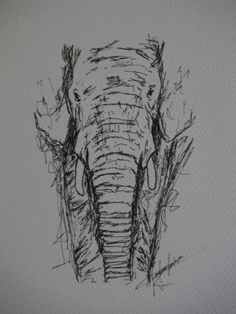 Elephant art - elephant pen drawing print - Animal drawing - black and white…