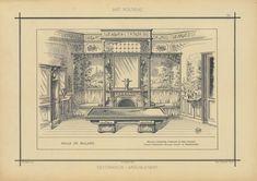 Salle de billard : meuble, crédences, cheminée en bois d'acajou. Filets citronnier, billard acajou et marqueterie - ID: 96852 - NYPL Digital Gallery