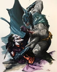 "1,607 Likes, 3 Comments - The Geek Realm (@thegeekrealm) on Instagram: ""Batman vs Joker by Gabriele Dell'Otto @gabrieledellotto #Batman #Joker"""