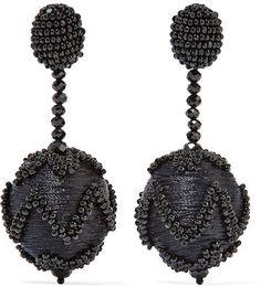 Oscar de la Renta - Beaded Silk Clip Earrings - Black, statement earrings, pretty, big earrings,