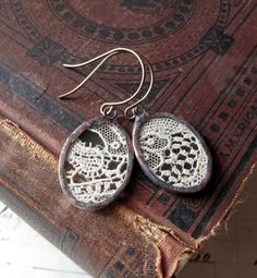 earrings antique lace under soldered glass ovals