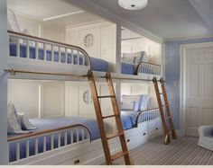 Blue and white bunks with sliding ladders - love the wood detail on the bedrail - by John B. Murray Architect: Recent Work Bunk Bed Rooms, Bunk Beds Built In, Elevated Bed, Murphy Bed Plans, Beach Cottage Decor, Coastal Cottage, Coastal Decor, Lounge, Cottage House Plans