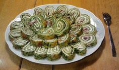 Low-Carb Spinach Roll with Fresh Cheese and Cooked Ham