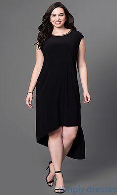 Cap Sleeve Black High Low Dress
