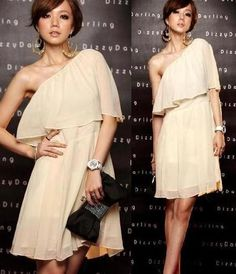 L165 Women Oblique Shoulder Chiffon Bridemaid Cocktail Clubwear Dress ~Beige~ S