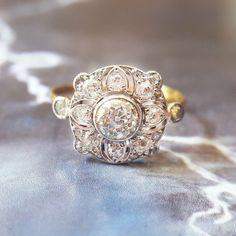 Antique Engagement Ring | Edwardian Engagement Ring | Vintage Engagement Ring | Art Deco Diamond Engagement Ring | Diamond Cluster Ring by TheIdolsEye on Etsy https://www.etsy.com/listing/461960186/antique-engagement-ring-edwardian