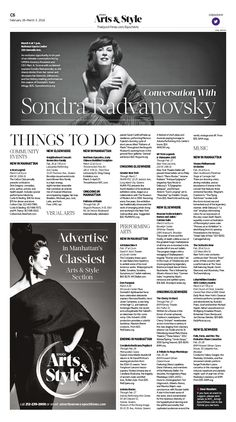 Things to Do|Epoch Times #NYC #SondraRadvanovsky #newspaper #editorialdesign