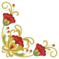 Russian Folk Art Khokhloma 3 - 3, 5x7 | Floral - Flowers | Machine Embroidery Designs | SWAKembroidery.com Ace Points Embroidery