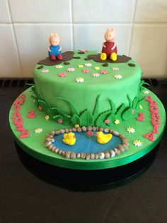 Peppa and George muddy puddle cake #yummiliciouscakes