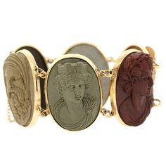1880s Lava Gold Cameo Bracelet | From a unique collection of vintage link bracelets at https://www.1stdibs.com/jewelry/bracelets/link-bracelets/