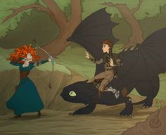 ❁Merida and Hiccup.. First time meeting each other.