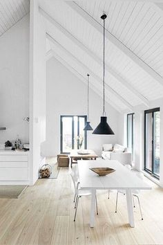 Pitched Roofing + Wooden Beams - The Design Chaser. home decor and interior decorating idea. Style At Home, Sweet Home, Modern Country, Modern Farmhouse, White Farmhouse, Farmhouse Table, Farmhouse Interior, Farmhouse Flooring, French Country