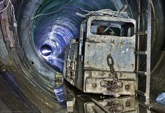 Mine locomotive in a tunnel