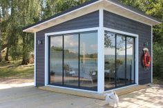 Inspiration. Shed With Porch, Grey Houses, Backyard Sheds, She Sheds, Modern Cottage, Garden Studio, Garden Cottage, Summer Kitchen, Private Garden