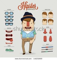 Hipster character illustration with character elements and icons by Kovacs Tamas, via ShutterStock