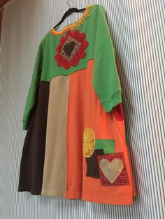 Upcycled Christmas Sweatshirt Dress , Colorful Patchwork Embroidered Reindeer Colorful Crochet Doilies 2 Big Appliqué Pockets Cute with Brown Leggings Loose Fit Fits cute on Large to Plus Size Depending on how you like things to fit. (Fit will be oversized on Medium and large)