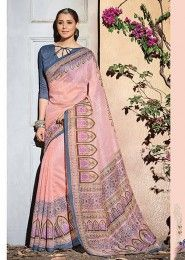 Casual Wear Peach Silk Printed Saree