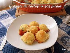 Arome si culori : Galuste de cartofi in sos picant Cauliflower, Vegetables, Ethnic Recipes, Food, Cauliflowers, Essen, Vegetable Recipes, Meals, Cucumber