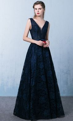 Modest Prom Dresses,Lace Prom Dresses,A-line Prom Dresses,Backless Prom Dresses,Navy Blue Lace Prom Dresses,V-neck Evening Dresses,Open Back Prom Gowns,Plus Size Prom Dress,Prom Dresses 2017,Party Dresses