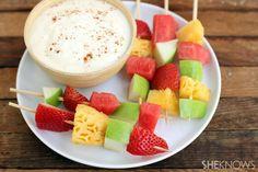 Fresh fruit skewers with honey-cinnamon yogurt dip