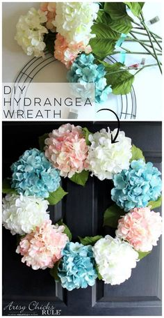 DIY Hydrangea Wreath (so easy, you can make your own!) - - DIY Hydrangea Wreath (only a few supplies needed for this super simple spring wreath! Wreath Crafts, Jar Crafts, Diy Wreath, Wreath Ideas, Tulle Wreath, Door Wreaths, Diy Spring Wreath, Spring Crafts, Hydrangea Wreath