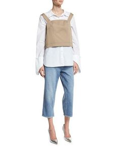 -71DX Robert Rodriguez  High-Rise Cropped Boyfriend Jeans, Blue Fold-Over Cuff Shirt, White Sleeveless Open-Back Top, Tan