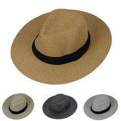 240eca8bf04 New Mens Ladies Womens Straw Panama Hat Wide Brim Fedora Trilby Style  Summer Cap