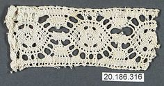 Insertion Date: 16th century Culture: Italian Medium: Bobbin lace Dimensions: L. 4 x W. 1 3/4 inches (10.2 x 4.4 cm) Classification: Textiles-Laces Credit Line: Rogers Fund, 1920 Accession Number: 20.186.316