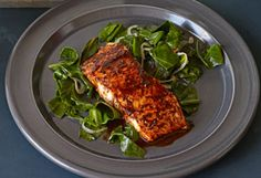 Braised Collard Greens with Chili-Glazed Salmon