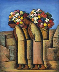 Ramos Martinez, Alfredo (1871-1946) - 1933c. The Flower Vendors (Christie's New York, 2007), for more, please visit: http://www.painting-in-oil.com/artworks-Rivera-Diego.html