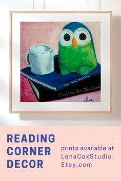 "The book lover print features an owl and a coffee cup sitting on top of two books. The funny titles of the parody books are Owlice in Javaland and You Are Hootiful. The wall art print is an ideal literary gift for book worms or librarians.The prints are available in three sizes 8""x8"", 10""x10"", and 12""x12"".  #reading #decor #bookworms Canvas Wall Art, Wall Art Prints, Coffee Cup, Coffee Room, Neutral Nurseries, Cool Wall Art, Gifts For Bookworms, Literary Gifts, Foyer Ideas"