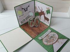 Explosionsbox für einen Jäger – Mein Kreativlabor Diy Gifts For Friends, Explosion Box, Diy Cards, Stampin Up, Birthday Cards, Scrap, Presents, Teddy Bear, Gift Wrapping