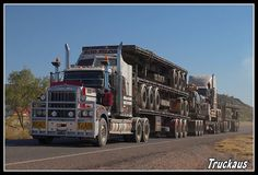 One of Rod Pilon's all doubled up and heading back from Mt Isa Show Trucks, Big Rig Trucks, Old Trucks, Pickup Trucks, Road Train, Double Up, Kenworth Trucks, Trucks And Girls, Heavy Machinery