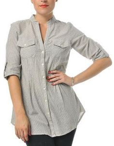 (CLICK IMAGE TWICE FOR DETAILS AND PRICING) Striped Roll Sleeve Blouse Light Gray. This versatile blouse looks great paired with everything from jeans to skirts. Wear it to the office with a pants or on weekends with jeans.. See More Tops at http://www.ourgreatshop.com/Tops-C74.aspx
