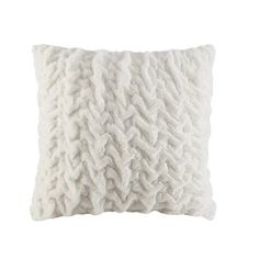 Rev up your lux factor with this Madison Park Ruched Faux Fur Euro throw pillow.FEATURES x Sewn closed CONSTRUCTION & CARE Fabric and fill: polyester Spot clean Imported Size: Color: White. Fur Throw Pillows, Floor Pillows, Decorative Throw Pillows, White Pillows, White Bedding, Room Ideas Bedroom, Bedroom Decor, Master Bedroom, Bedroom Inspo