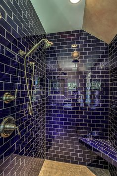 Can T Get Enough Of This Cobalt Blue Love The Way It Takes On Glass Tile Bathroomtile