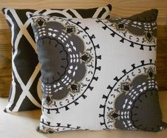 Black Grey and Taupe Medallion. custom pillows and she will send free fabric samples