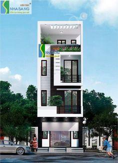3 Storey House Design, Bungalow House Design, House Front Design, Small House Design, Modern House Design, Narrow House Designs, 3d Home, House Elevation, Facade House