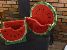Plate and Napkin Holder Set  Watermelon by johnscripture on Etsy, $19.95