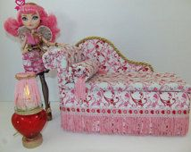 Furniture for Ever After High Dolls Handmade Chaise Lounge Bed for Cupid with Mirrored Heart Table and Working Lamp!