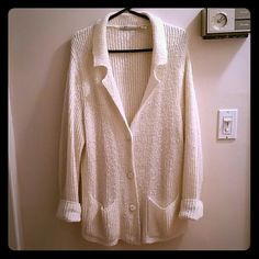 Cardigan Sweater Button-down, Cardigan Sweater - Cream Color - 55% Ramie / 40% Acrylic / 5% Polyester Chinawear By Morsly Sweaters Cardigans